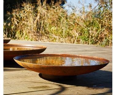 Corten Steel Curved Water Bowl