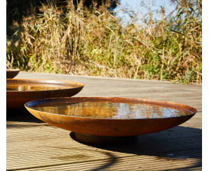 Corten Steel Curved Water Bowl