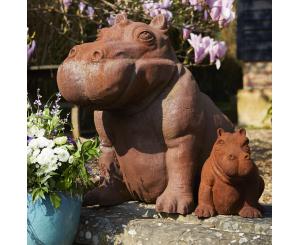 Small Happy Hippo Statue