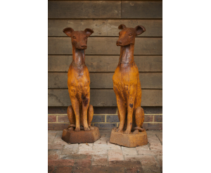 Pair of Sitting Whippet Dog Statues