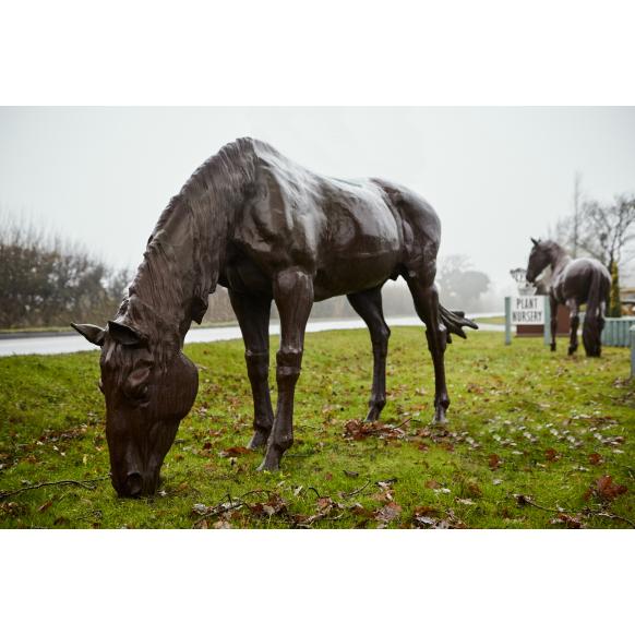Lifesize Grazing Horse Statue Image