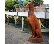 Pair of Sitting Whippet Dog Statues Image